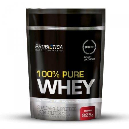 Whey Protein 100% Pure Morango Probiótica Refil - 825g