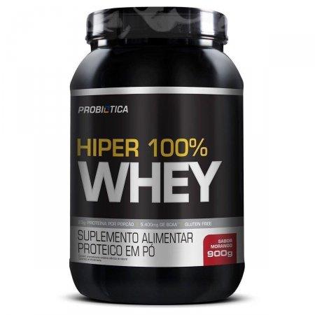 Whey Protein Hiper 100% Morango Probiótica Pote - 900g