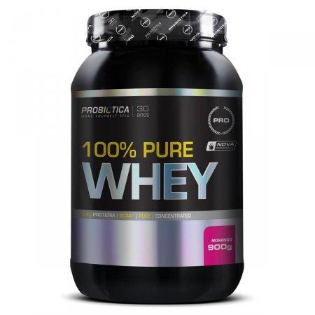 Whey Protein 100% Pure Morango Probiótica Pote - 900g