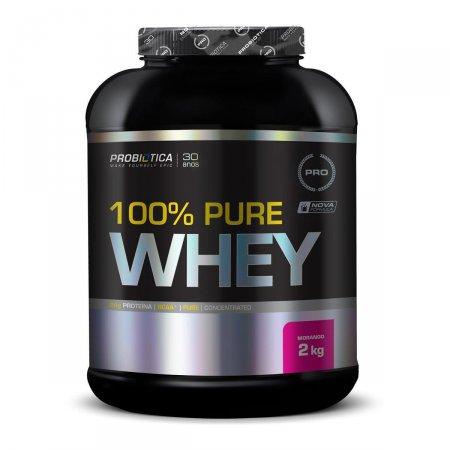 Whey Protein 100% Pure Morango Probiótica Pote - 2kg