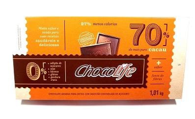 Barra de Chocolate 70% Cacau Chocolife 1,01kg
