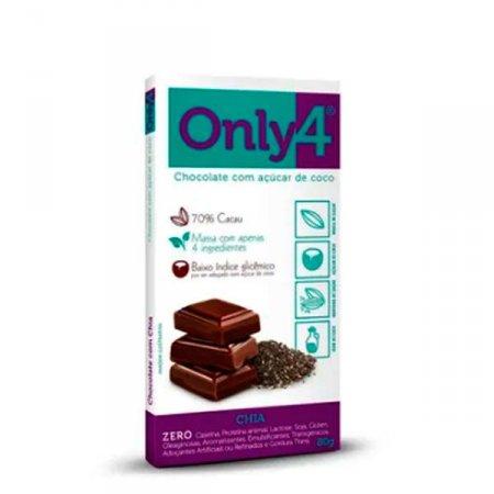Chocolate 70% Cacau com Chia Zero Only 4 80g