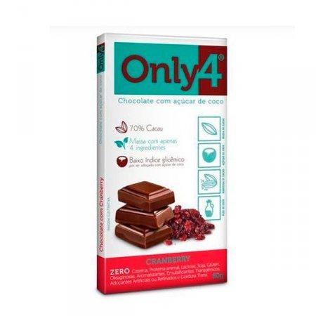 Chocolate 70% Cacau com Cranberry Zero Only 4 80g
