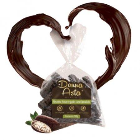 Biscoito coberto com chocolate 70% zero açúcar Donna Asta 200g