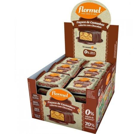 Paçoca de Castanhas com Chocolate Zero Açúcar 24 unidades Flormel