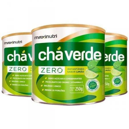 Kit 3 Chá Verde Zero com Limão 250g MaxiNutri
