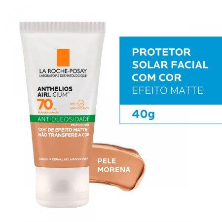 Protetor Solar Facial Com Cor La Roche-Posay Anthelios Airlicium Antioleosidade Pele Morena FPS 70 com 40g