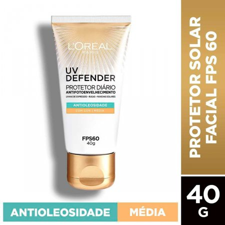 Protetor Solar Facial L'Oréal UV Defender Antioleosidade Cor Média FPS 60 com 40g