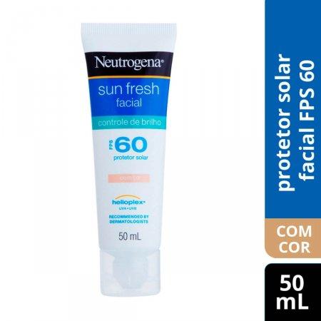 Protetor Solar Facial Neutrogena Sun Fresh Controle de Brilho com Cor FPS 60 com 50ml