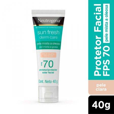 Protetor Solar Facial Neutrogena Sun Fresh Derm Care Pele Clara FPS70 com 40g