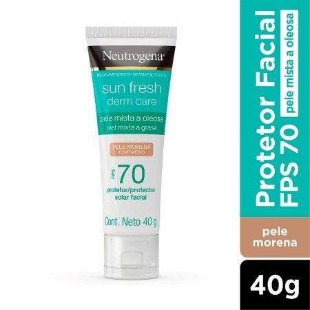 Protetor Solar Facial Neutrogena Sun Fresh Derm Care Pele Morena FPS70 40g  
