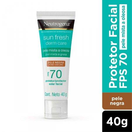 Protetor Solar Facial Neutrogena Sun Fresh Derm Care Pele Negra FPS70 com 40g