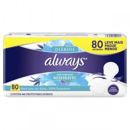 Protetor Diário Always Respirável sem Perfume 80 Unidades |