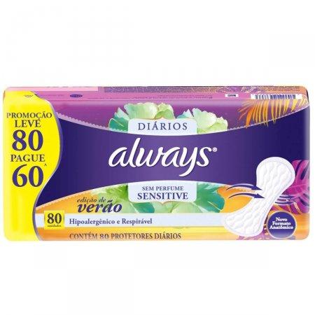 Protetor Diário Always Sensitive sem Perfume Edição de Verão 80 Unidades |
