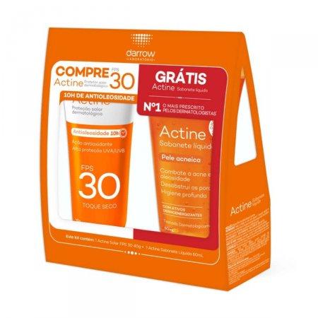 Kit Protetor Solar Actine FPS30 + Sabonete Líquido Actine Antiacne