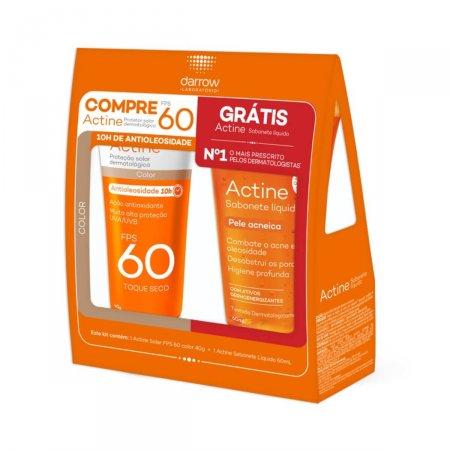 Protetor Solar Actine Color FPS60 + Sabonete Líquido Actine Antiacne Grátis