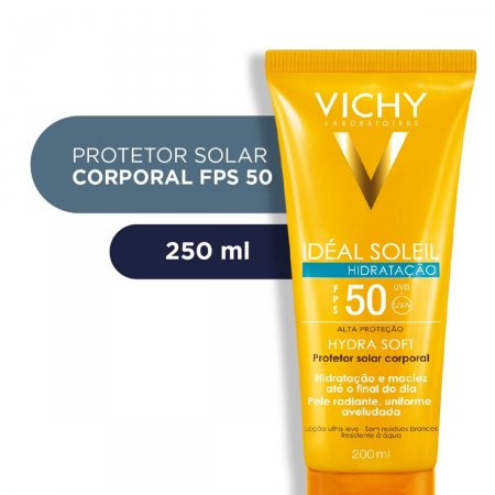 Protetor Solar Corporal Vichy Idéal Soleil Hydra Soft FPS 50 com 200ml