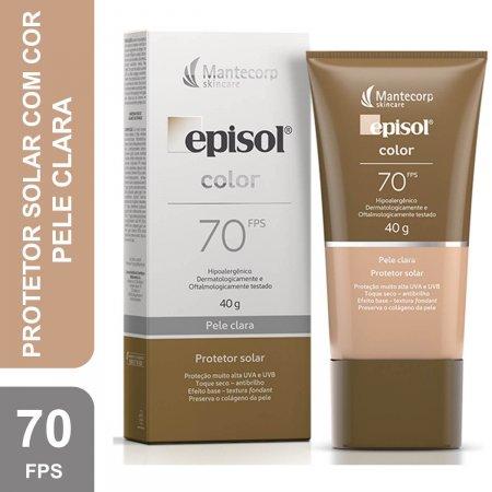 Protetor Solar Episol Color FPS 70 Facial Pele Clara com 40g