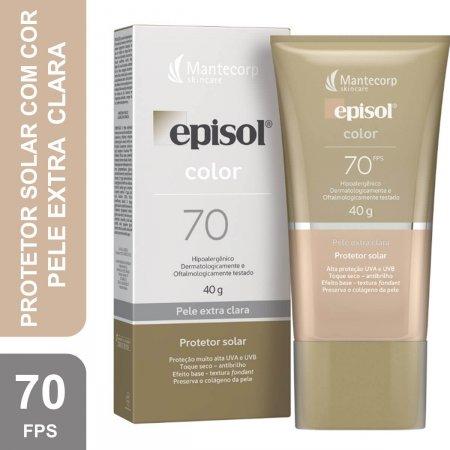 Protetor Solar Facial Episol Color Pele Extra Clara FPS 70 com 40g