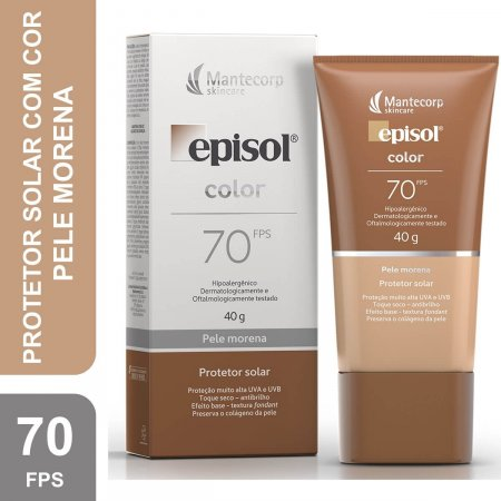 Protetor Solar Facial Com Cor Episol Color Pele Morena FPS 70 com 40g