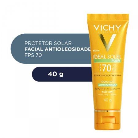 Protetor Solar Vichy Idéal Soleil Purify FPS 70 Facial com 40g