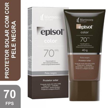 Protetor Solar Facial Episol Color Pele Negra FPS 70 com 40g