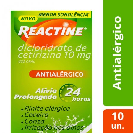 Reactine 10mg com 10 cápsulas