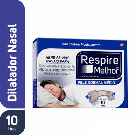 Dilatador Nasal Respire Melhor Pele Normal Médio com 10 unidades