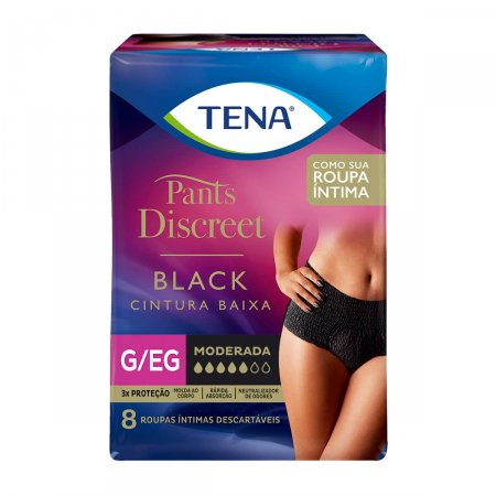 Roupa Íntima Tena Pants Discreet Black Tamanho G/EG