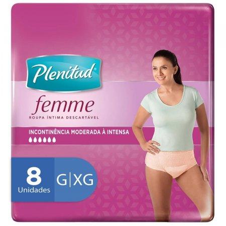 Roupa Íntima Plenitud Femme G/XG com 8 Unidades