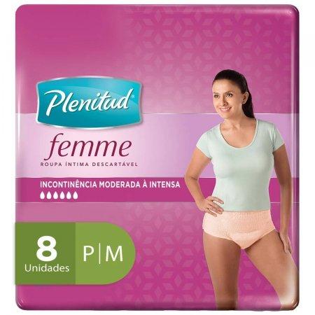 Roupa Íntima Descartável Plenitud Femme P/M com 8 Unidades