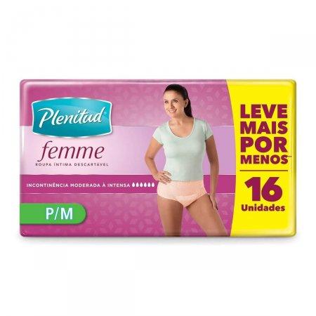 Roupa Íntima Descartável Plenitud Femme Feminina P/M com 16 Unidades