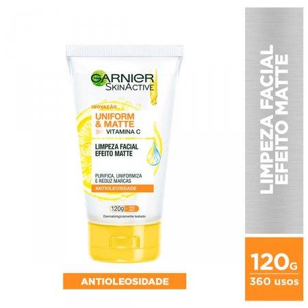 Sabonete Líquido Facial Garnier SkinActive Uniform&Matte Vitamina C Antioleosidade com 120g