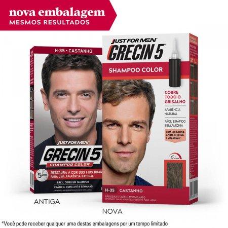 Shampoo Color Grecin 5 Just For Men H-35 Castanho com 60ml
