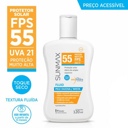 Protetor Solar Sunmax Fluid FPS 55 com 120ml