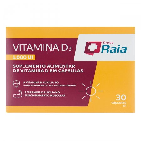 Suplemento Alimentar Droga Raia Vitamina D3 1000UI