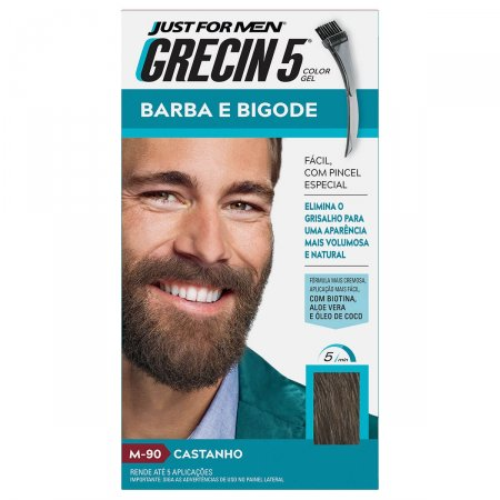 Tonalizante Grecin 5 Just For Men Color Gel Barba e Bigode Castanho com 1 Unidade