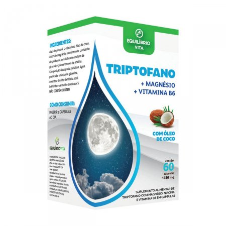 Triptofano + Magnésio + Vitaminas 1000mg Equilíbrio Vita com 60 Cápsulas   Foto 1