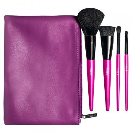 Kit Pincéis Rosas de Maquiagem Triss + Necessaire Edição Limitada