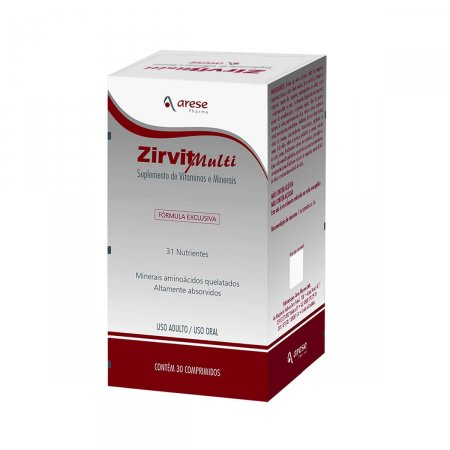 Suplemento Vitamínico e Mineral Zirvit Multi com 30 comprimidos