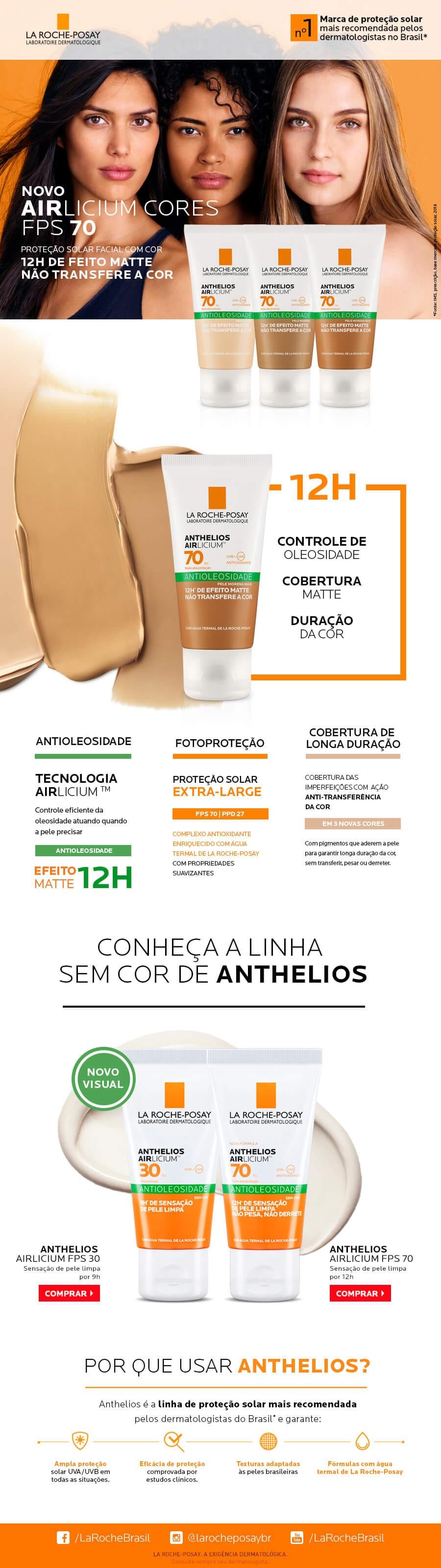 Lamina Protetor Solar Facial Anthelios Aircilium Antioleosidade F70