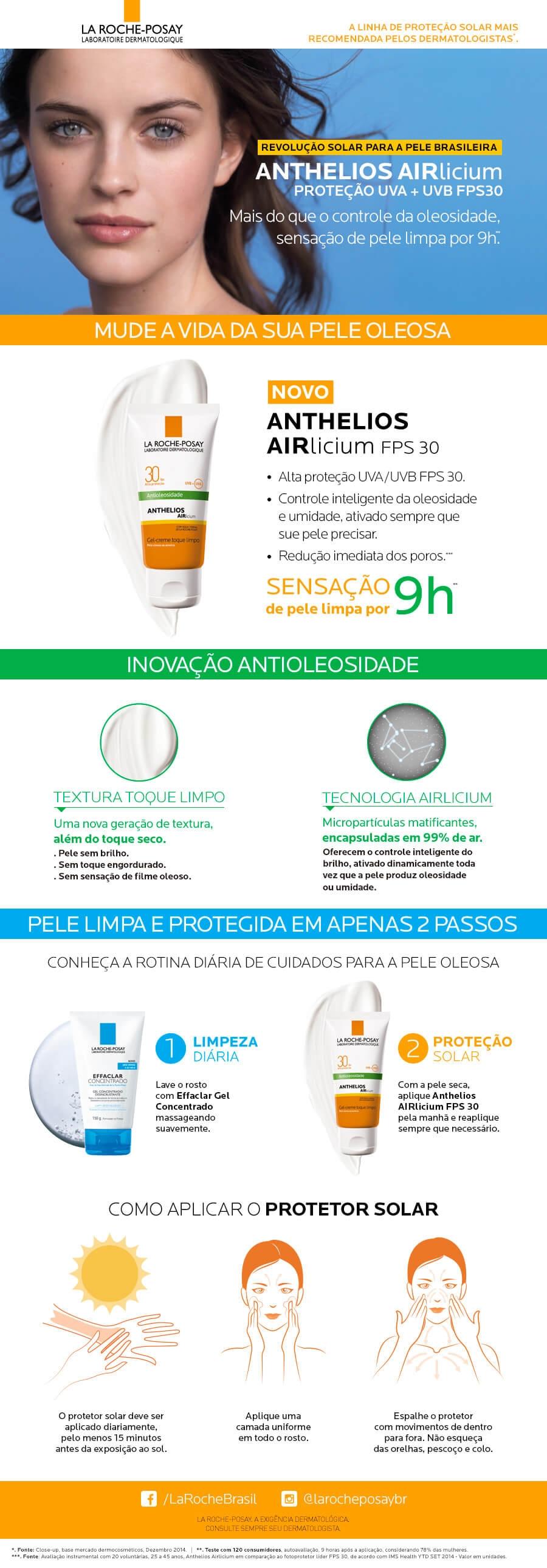 Lamina Protetor Solar Facial Anthelios Aircilium F30