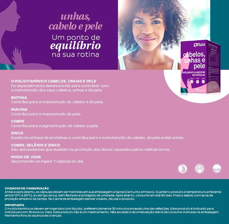 Vitamina Raia Cabelo + Unha + Pele