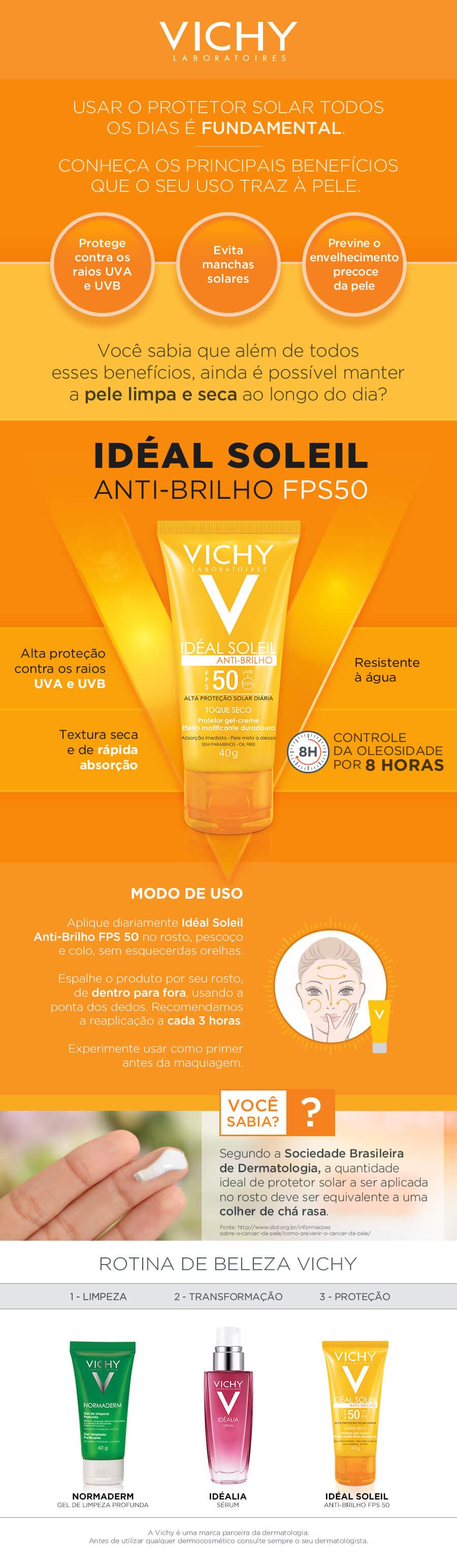 Protetor Solar Facial Idéal Soleil Antibrilho Toque Seco FPS50