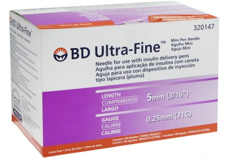 Agulha para Caneta Aplicadora de Insulina BD Ultra-Fine 5mm com 100 unidades