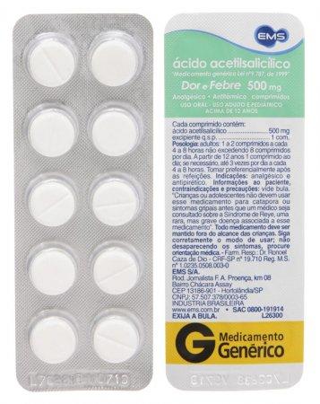 Ácido Acetilsalicílico 500mg EMS com 10 comprimidos