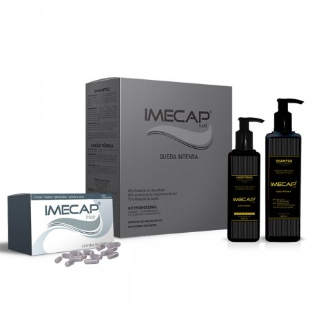 Kit Imecap Hair Queda Intensa Shampoo 300ml + Loção 100ml + 30 Cápsulas