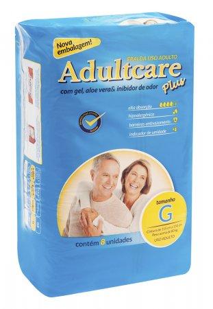 Fralda Geriátrica Adultcare Grande Com 8 Unidades