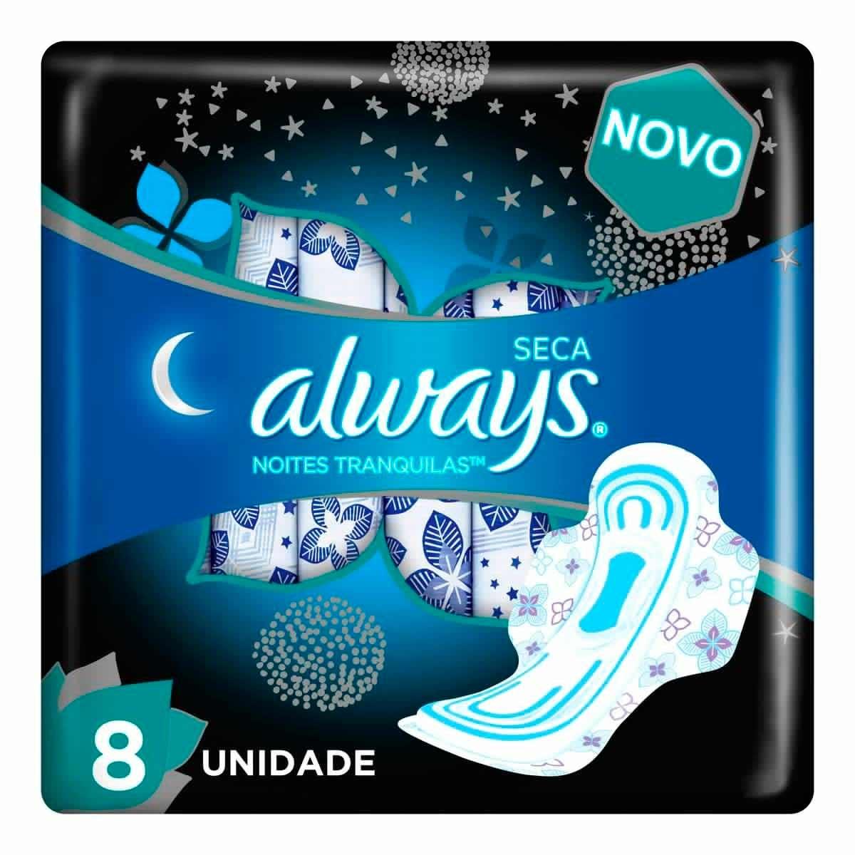 Absorvente Always Noites Tranquilas com Abas Cobertura Seca Leve 8 Pague 7 Un 8 Unidades