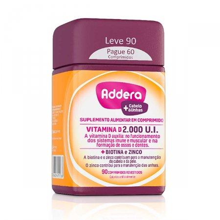 Vitamina D Addera +Cabelo & Unhas 2.000UI com 90 Comprimidos | Foto 1